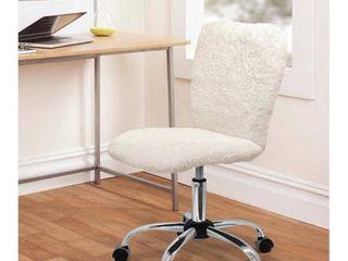 Urban Shop Faux Fur Armless Swivel Task Office Chair  WHITE