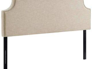 Full laura Upholstered Fabric Headboard Beige   Modway