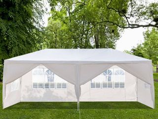 White PE Iron Spiral Interface Wedding Party Canopy Tent   10x20ft 4sides