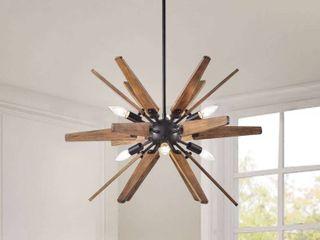 Bernice Antique Black Sputnik Natural Wood 6 light Chandelier