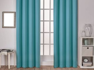 Set of 2 108 x52  Sateen Twill Weave Insulated Blackout Grommet Top Window Curtain Panels Thermal Green   Exclusive Home
