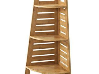 linon Bracken Bamboo Corner Shelf  Solid Bamboo  3 Shelves