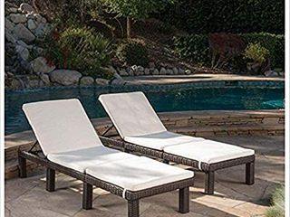 Jamaica Outdoor Water Resistant Chaise lounge Cushion  Set of 2  by Christopher Knight Home