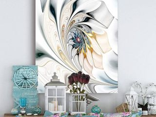 Design Art White Stained Glass Floral Wall Art Canvas