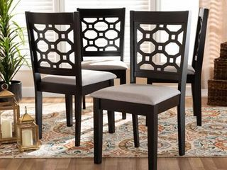 Baxton Studio Peter Grey And Brown Finished Wood 4 piece Dining Chair Set