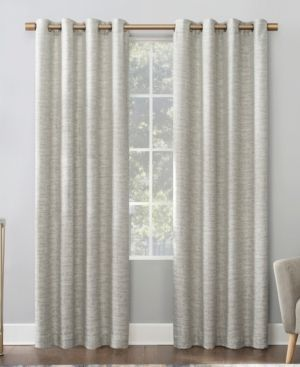 96 x52  Sinatra Dimensional Textured Total Blackout Grommet Curtain Panel linen   Scott living