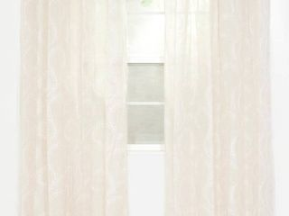 lavish Home Andrea Embroidered Curtain Panel  95  White