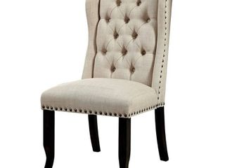 Wingback Chair  Antique Black and Beige
