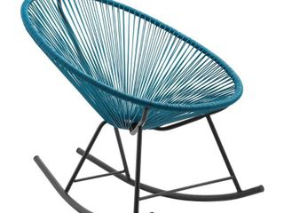 Corvus Sarcelles Modern Wicker Patio Rocking Chair   Peacock  1 CHAIR ONlY