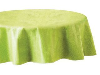 Mainstays linen Print Vinyl Tablecloth  lime  70  Round