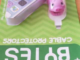 Pink Pig And Mouse Tzumi Bytes 2 Cable Cord Tips Protectors Phone Universal