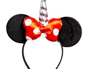 Minnie Mouse Red Polka Dot Bow Unicorn Ears Headband
