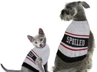 Gray Striped Spoiled Pet Sweater  M