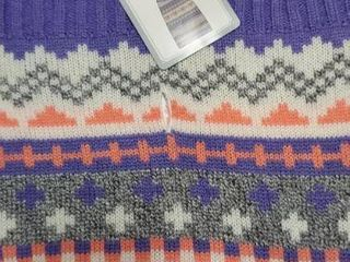 Dog Sweater Medium 17 22  Purple peach white gray