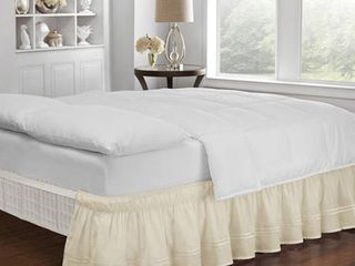 Ivory Wrap Around Baratta Stitch Ruffled Bed Skirt  Twin Full   75  X 39    EasyFit