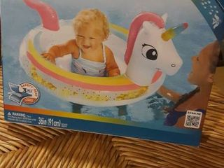 Swim School Unicorn Glitter 36 d Inflatable Baby Boat Pool Float