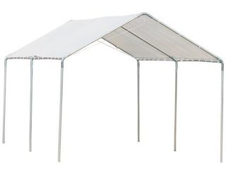 Outsunny 9 5  x 9 2  x 8 5  2 Room Heavy Duty Carport Canopy with Water UV Fighting Material   a Simple Open Design  Retail 251 99