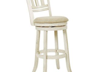 Swivel Stool 30  with Slatted Back in Antique White Finish