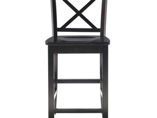 24  Torino X Back Wood Counter Stool   Black   linon
