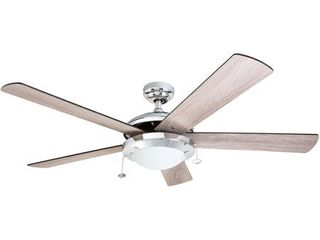 Prominence Home Bolivar Ceiling Fan  Modern Farmhouse  5 Barnwood Blades  Chrome   52 inch  Retail 116 49