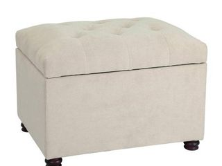Adeco Classy Cotton Mix Fabric Accents Rectangular Storage Bench Ottoman Footstool White Fabric