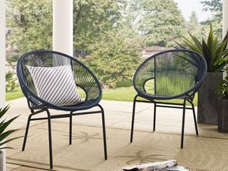 Corvus Sarcelles Woven Wicker Patio Chairs  Set of 2  Retail 219 99