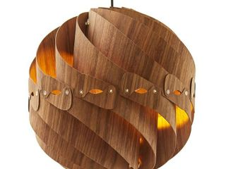 14  in COSMO WAlNUT WOOD ROUND CEIlING PENDANT TABlE lAMP