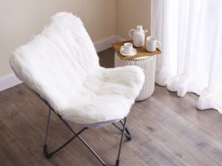 Faux Fur Butterfly Chair   White  Retail 85 99