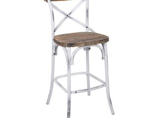 Zaire Bar Chair  Walnut   Antique White  Retail 249 49