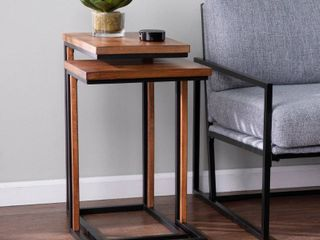 Carbon loft Savanti Modern Farmhouse Brown Metal C Table  Set of 2  Retail 207 99