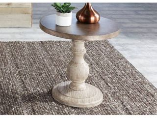 Alamosa Weathered light Grey and Copper Round End Table  Retail 293 99