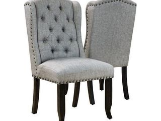 Furniture of America Tays Rustic linen Fabric Dining Chairs  Set of 2  Retail 312 99