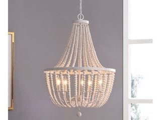 Zander White Wood Bead 5 light Chandelier  Retail 328 99