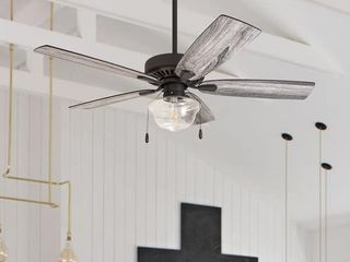 The Gray Barn Belvoir 52 inch Coastal Indoor lED Ceiling Fan with Pull Chains 5 Reversible Blades   52  Retail 158 49