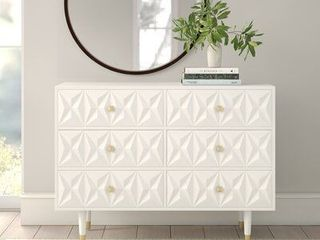 Bea White Geo Texture 6 Drawer Dresser  Retail 596 49