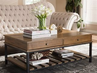 Rustic Brown and Black Coffee Table by Baxton Studio  Retail 319 49