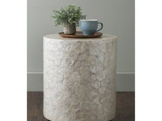East At Main s Sable Off White Wood and Capiz Round Accent Table  Retail 249 00