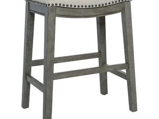 The Gray Barn Arbakka Grey 24 inch Saddle Bar Stools  Set of 2  Retail 145 49