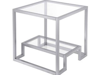 Athena Geometric Glam Side Table in Silver