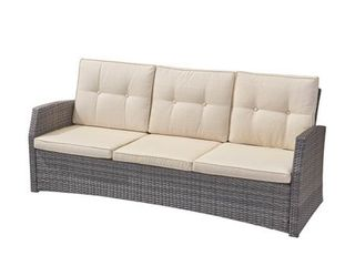 Sanger Outdoor 3 Seater Wicker Sofa by Christopher Knight Home  Retail 422 99
