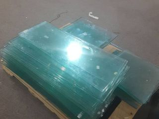 pallet of glass shelves
