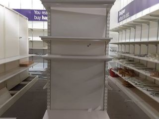 free standing display with 4 shelves and brackets