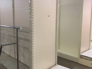 free standing display shelves double