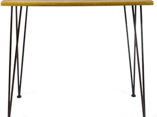Christopher Knight Home Denali Outdoor Industrial Acacia Wood Bar Table with Iron Frame  Teak Finish   Rustic Metal