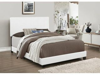White padded platform bed  double bed