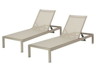 Cape Coral Set of 2 Aluminum   Mesh Chaise lounge   Christopher Knight Home