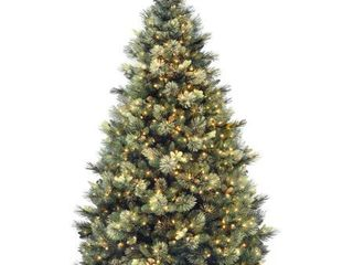 7 5ft  Carolina Pine Hinged Tree with 86 Flocked Cones and 750 Clear lights