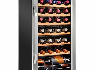 Ivation 28 Bottle Compressor Wine Cooler Refrigerator w lock   large Freestanding Wine Cellar For Red  White  Champagne or Sparkling Wine   41f 64f Digital Temperature Control Fridge Stainless Steel