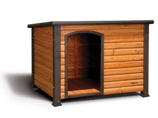 Precision Pet Extreme log Cabin large 45 5 in  x 33 in  x 32 8 in    COUlD BE MISSING HARDWARE