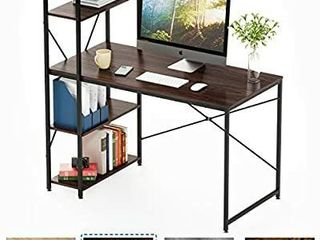 Bestier Computer Desk with Shelves Writing Desk with Storage Bookshelf Reversible Study Table Office Corner Desk with Shelves Home Office Desk with Bookshelf Easy Assemble  47 Inch  Brown